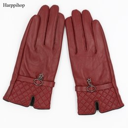 warm leather mittens Australia - Harppihop Fall and Winter Genuine Leather Gloves for Women 2017 New Fashion Brand Black Warm Driving Glove Mittens GSL016 SH190921