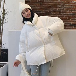 women korean winter parka coat Australia - Korean New Women Down Oversized Loose Jacket Female Stand Collar Solid Winter Coat Casual Pocket Short Parka Coat