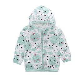 Wholesale sunscreen hoodies resale online – Baby Hoodie Toddler Kids Summer Sunscreen Jackets Printing Hooded Outerwear Zipper Coats Boys Girls Sweatshirts Drop Shipping