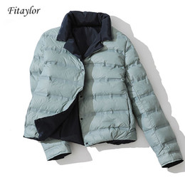 double sided shorts Australia - Winter Women Double Sided Down Jacket Stand Collar White Duck Down Coat Double Breasted Warm Short Snow Outwear CJ1911109