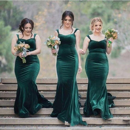 emerald ivory wedding dress Australia - Emerald Green Velvet Wedding Dresses For Guests Spaghetti Mermaid Bridesmaid Dress Long Custom Made Maid Of Honor Party Formal Dress Cheap