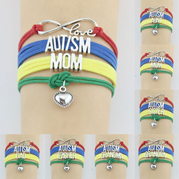 autism awareness charms NZ - 10PC Lot Infinity Love AUTISM MOM Dad Sister Grandma Aunt Teacher Awareness Heart Charm bracelet wristband friendship Bracelets