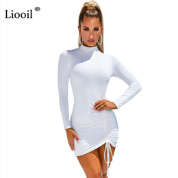 short tight black party dresses UK - Liooil Sexy Ruched Bodycon Mini Dress Women Clothes Fall 2020 Long Sleeve O Neck Lace Up Draped Tight Dresses Woman Party Night Y200102