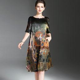 $enCountryForm.capitalKeyWord Australia - Vintage Ethnic Painting Design Women's Summer Half Shell Soft Silk Clothes Elegant Woman Brand Vestidos O -approach Plus Size Y19071001