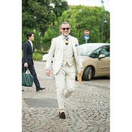 Suit Beige Australia - 2019 Latest Coat Pant Designs Beige Linen Summer Beach Men Suit Slim Fit 3 Piece Blazer mens suits Groom Tuxedo Terno Masculino