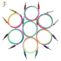 $enCountryForm.capitalKeyWord Australia - 100pcs lot Audio Cable 3.5 Jack Male to Male Rainbow Round Bullet Cloth Audio Aux Cable For iPhone Car Headphone Speaker Wire Line Aux Cord
