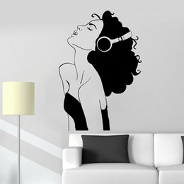 sexy cartoon beautiful UK - Sexy Woman Wall Decal For Living Room Beautiful Girl Headphones Music Room Decor Musical Classroom Vinyl Wall Stickers