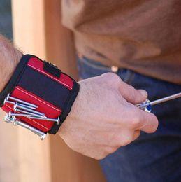 Strong pulseira magnética de bolso ferramenta prática Arm Wrist Band Toolkit Belt Pouch Bag Belt Parafusos Titular segurando ferramentas 10 ímãs em Promoção