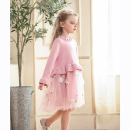 Girls cotton knit dresses online shopping - Kids Luxury Dress Girls Brand Knitted Mesh Puff Princess Dress Childrens Swan Print Skirt Solid Color Lace Dresses Girl Clothings