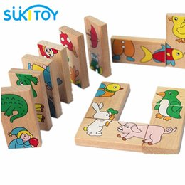 $enCountryForm.capitalKeyWord NZ - Wooden Puzzle Toy Sukitoy 15pcs Animal Domino Puzzle Kids Soft Montessori Wooden Puzzle Toy Set High Quality Gift For Infant 16cm *3cm *1cm