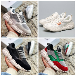 Teddy gold online shopping - 2019 New Italy Bear Moschinos Designer Casual Teddy shoes Women girls white pink Casual INS Platform Fashion Luxury Sneakers