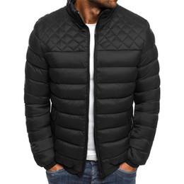 $enCountryForm.capitalKeyWord NZ - Mens Down Winter Jacket Solid Color Stand Collar Rhomboids Mens Cardigan Parks Fashion Teenagers Apparel