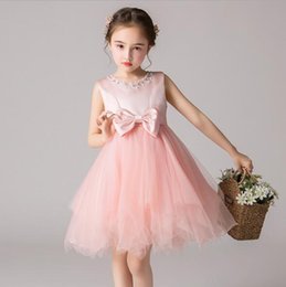 Big Bow Tulle Dress Australia - 2019 New Elegant Beaded Lace Kids Princess Dress For Birthday Party Wedding Big Bow Tulle Ball Gown for Formal First Communion Dress