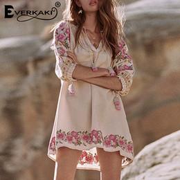 $enCountryForm.capitalKeyWord Australia - Boho Embroidery Dress Women Tassel Floral Mini Dresses For Women Cotton Bohemian Summer Dress 2019 Autumn Femme Clothes T5190604