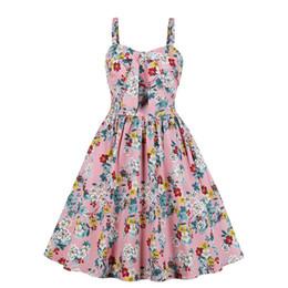 Summer Street Fashion Vintage Dresses Australia - Summer clothing Women Sweet Pink Floral Elegant vintage Retro A Line Casual Street Fashion Sundress Girl party Holiday Chic Strap Dresses