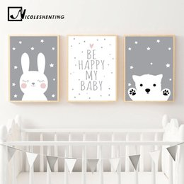 Rabbits Decor Australia - Baby Nursery Wall Art Canvas Poster Print Cartoon Rabbit Bear Painting Nordic Kids Decoration Picture Children Bedroom Decor