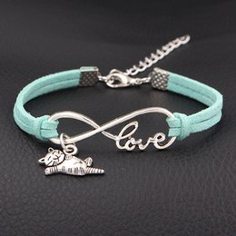 Silver Friendship Bracelet For Men Australia - Silver Infinity Love I Love My Happy Cat Animal Charm Bracelets & Bangles Fashion Green Leather Suede Rope Friendship Jewelry For Men Women