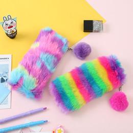 $enCountryForm.capitalKeyWord Australia - Rainbow Plush Pencil Case for Girls Cute Large Big Pen Bag Stationery Pouch Box kids gift office school Supplies zakka SY0105