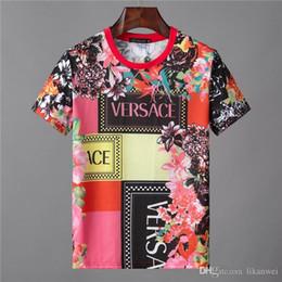 2af96c04 The New Summer fashion Slim Style Men T-Shirt Red flower printing pattern  Men's Short Sleeve T-Shirt 2019 Leisure Cotton Men T-Shirt