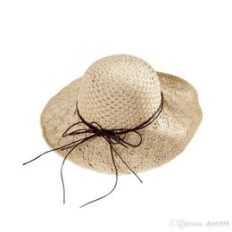 wide brim cream hat Australia - 2019 Fashion Women Hats Foldable Straw Hat Wide Brim Hats Summer Beach Hat for Women And Girls