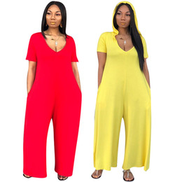 Women Fashion Jumpsuit UK - 2019 New Style Women Hooded Short Sleeve Loose Jumpsuit Fashion Active Wear Classic Romper with Side Pocket 2 Color Jumpsuit