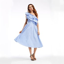 Summer Street Fashion Vintage Dresses Australia - Women Summer Vintage Elegant One Shoulder Robe Sexy Striped Ladies Maxi Ruffles Dress New Fashion Female Long Party Dresses T190604