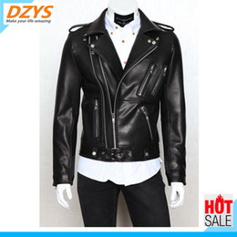 leather zippers Australia - DZYS New temperament foreign trade men's locomotive leather clothes multi-zipper lapel brief design men's YH jacket
