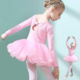 Bow Dance Tule Tutu Saia Vestidos Da Menina de Dança de Balé Latina Roupa Dos Miúdos Moda Cor Sólida Primavera Outono Vestido de Manga Longa