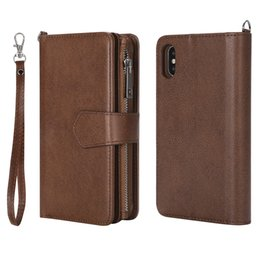 Großhandel Hochwertige Leder-Handy-Hüllen für iPhone x Muster Zipper Wallet Phone Case für iPhone xs Hüllen
