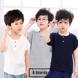 wholesale kids tshirts Australia - 2019 Girls Tshirts Kids cotton Clothes children t-shirts for baby boys t shirts solid short sleeve summer Tops linen