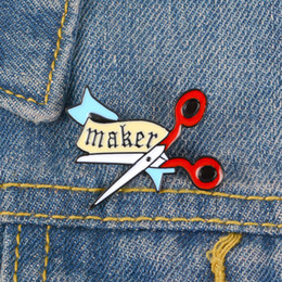 Banner Gift Australia - Scissors Enamel Pin Cartoon Banner Maker badge brooch Lapel pin Denim Jeans bag Shirt Collar Handcraft Jewelry Gift for Friend
