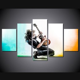 Modern Musical Instruments Canada - Modern HD Printed Wall Art Frame Canvas Pictures 5 Panel Musical Instrument Guitar Home Decor Room Poster Painting