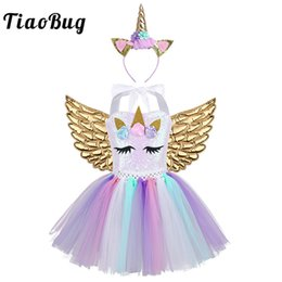 halloween costume wings NZ - irls Costumes TiaoBug Kids Cartoon Outfit 3D Flowers Sequins Mesh Tutu Dress Hair Hoop Angel Wings Set Girls Halloween Anime Cosplay Cost...
