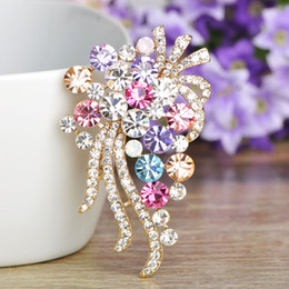 Gold Plates For Hats Australia - ashion Jewelry Brooches Blucome Fashion Full Colorful Rhinestone Flower Shape Brooch Gold Color Brooches For Women Dress Hat Scarf Pins A...