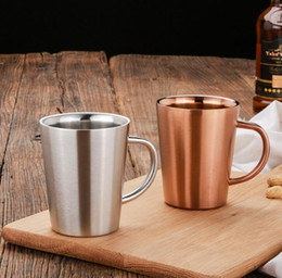Silver Cup Mug Australia - 30pcs Double Layer 304 Stainless Steel Rose Gold Silver Mugs Anti-hot Travel Outdoor Coffee Tea Water Cup