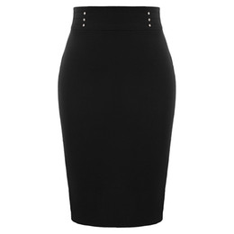 $enCountryForm.capitalKeyWord UK - Women High waist solid skirt elegant vintage classic Stretch Flat Studs Decor knee length Hips-wrapped Bodycon Pencil Skirt lady