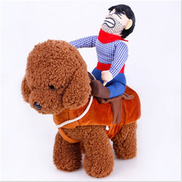 Wholesale cloth winter jackets resale online - New Creative Poodle Clothes Funny Riding Cosplay Cowboy Knight Cloth Pet Supplies Soft Adjustable High Quality qc