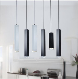 Discount modern kitchen island lighting - led Pendant Lamp dimmable Lights Kitchen Island Dining Room Shop Bar Counter Decoration Cylinder Pipe Hanging Lamps