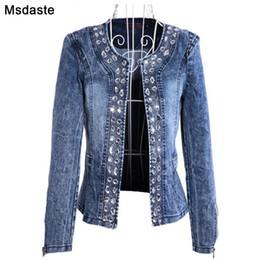 $enCountryForm.capitalKeyWord Australia - Denim Jackets for Women New Diamonds Paillette Woman Coats Blaser Vintage Water-Wash Casual Lady Jeans Cardigan Jaqueta Feminina