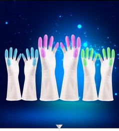 Protect Hand Kitchen Australia - Washing Silicone Gloves Resuable Household Hand Protect Scrubber Anti Scald Dishwashing Gloves For Kitchen Bathroom Cleaning Tools