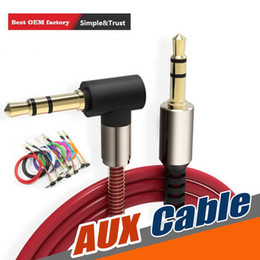 flat speakers headphones Australia - 3.5mm Jack Auxiliary Audio Cable Cord Flat 90 Degree Right AUX Cable with Steel Spring Relief for Headphones speaker phone Home Car Stereos