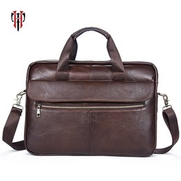 Leather Bag For Inches Australia - Tianhoo 2018 Fashion Business Briefcase Handle Man Bags For Work 14 Inch Laptop Package Genuine Leather Totes Y19051802