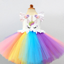 $enCountryForm.capitalKeyWord NZ - Fancy Baby Girls Unicorn Colorful Clothes 1 Year Girl Baby Birthday Dress Cake Smash Outfits Embroidery Flower Rainbow Outfits Y19061001