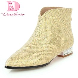Wholesale DoraTasia Large Size Sequin Hot Sale Women Boots Woman Shoes Add Fur female booties Shoes Woman Ankle Boots
