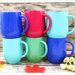 Coating Mug Australia - 4 colors 12oz Egg Cups Double Wall Vacuum Insulated Beer Mugs Stainless Steel Wine Glass Powder Coated Coffee Mugs