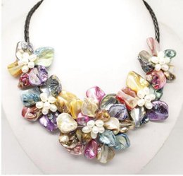 Stunning Necklaces Australia - Hot sale new Style >>>>>Stunning Multicolor Freshwater Pearl Sea Shell Flower Leather Necklace 18dcv""