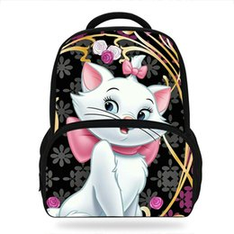 Wholesale 14Inch Hot Sale Kids Schoolbag Cool Marie Cat Printing Backpack For Girls Mochila Children Teenagers Bag