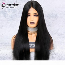 silk base part wigs NZ - Silk Base Lace Front Wigs Middle Part Yaki Straight 150% Density 100 Brazilian Remy Hair Wigs