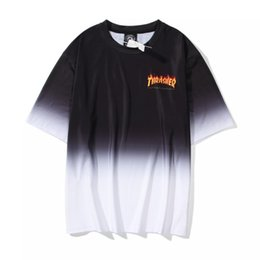 Wholesale t shirt thrasher for sale – custom Thrasher tide brand ins classic flame gradient letters spring and summer round neck short sleeved T shirt wild men and women couples loose M