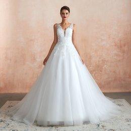 $enCountryForm.capitalKeyWord UK - 2020 Vintage V Neck Designer Wedding Dresses Illusion Appliques A Line Sweep Train Outdoor Chic Rustic Bridal Gown Real Image